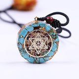 Natural Turquoises Orgonite Pendant Reiki Healing Energy Necklace Jewelry