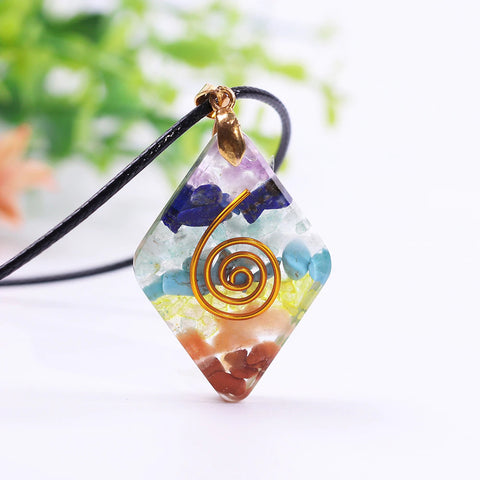 7 Chakra Rainbow Orgone Crystal Pendant For Strengthen Immune System Healing Crystal Pendant Energy Jewelry