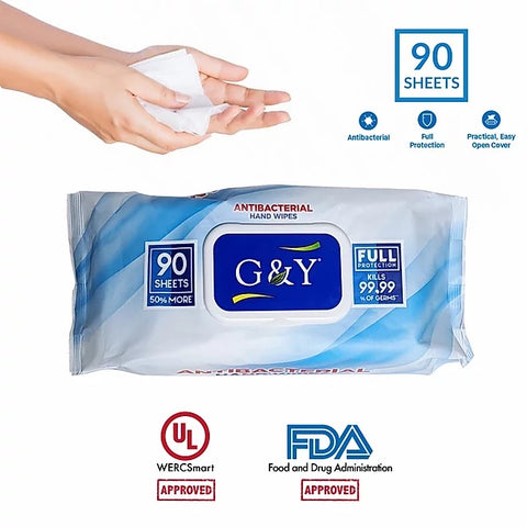 90 CT Antibacterial Disinfectant Hand Wipes Case-12 Packs