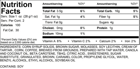 Espresso Caramel Popcorn Nutritional Information 2 Cups by Poppington's Gourmet Popcorn
