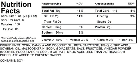Salt & Vinegar Popcorn Nutritional Information 8 Cups by Poppington's Gourmet Popcorn