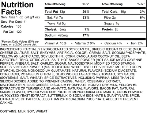 Spicy Bacon Cheddar Popcorn  Nutritional Information-4 Cups by Poppington's