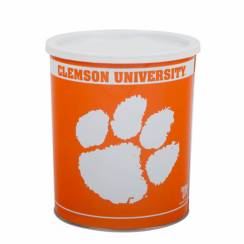 Clemson University Official Tigers 1 Gallon Tin filled with Yummy Popcorn from Poppington's - Poppington's Gourmet Popcorn