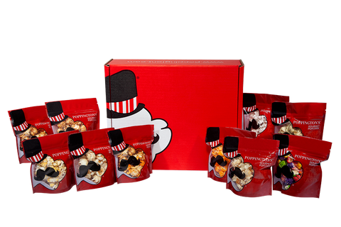 Super Deluxe Popcorn Gift Box with 9 Different Flavor Bags! - Poppington's Gourmet Popcorn