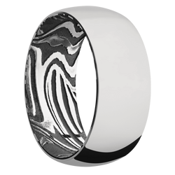 Ring with Sunset Damascus Steel Sleeve