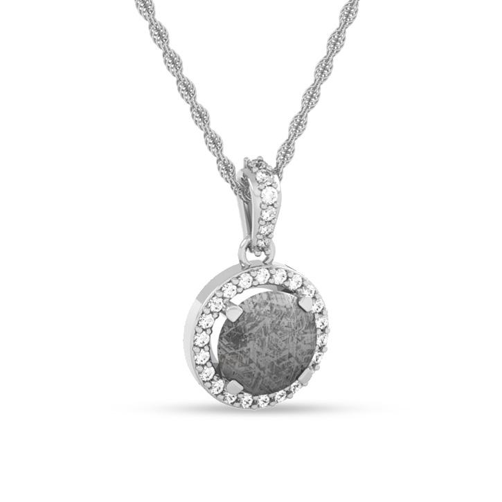 Meteorite Pendant With Stunning White Diamond Accents On 14k White Gold