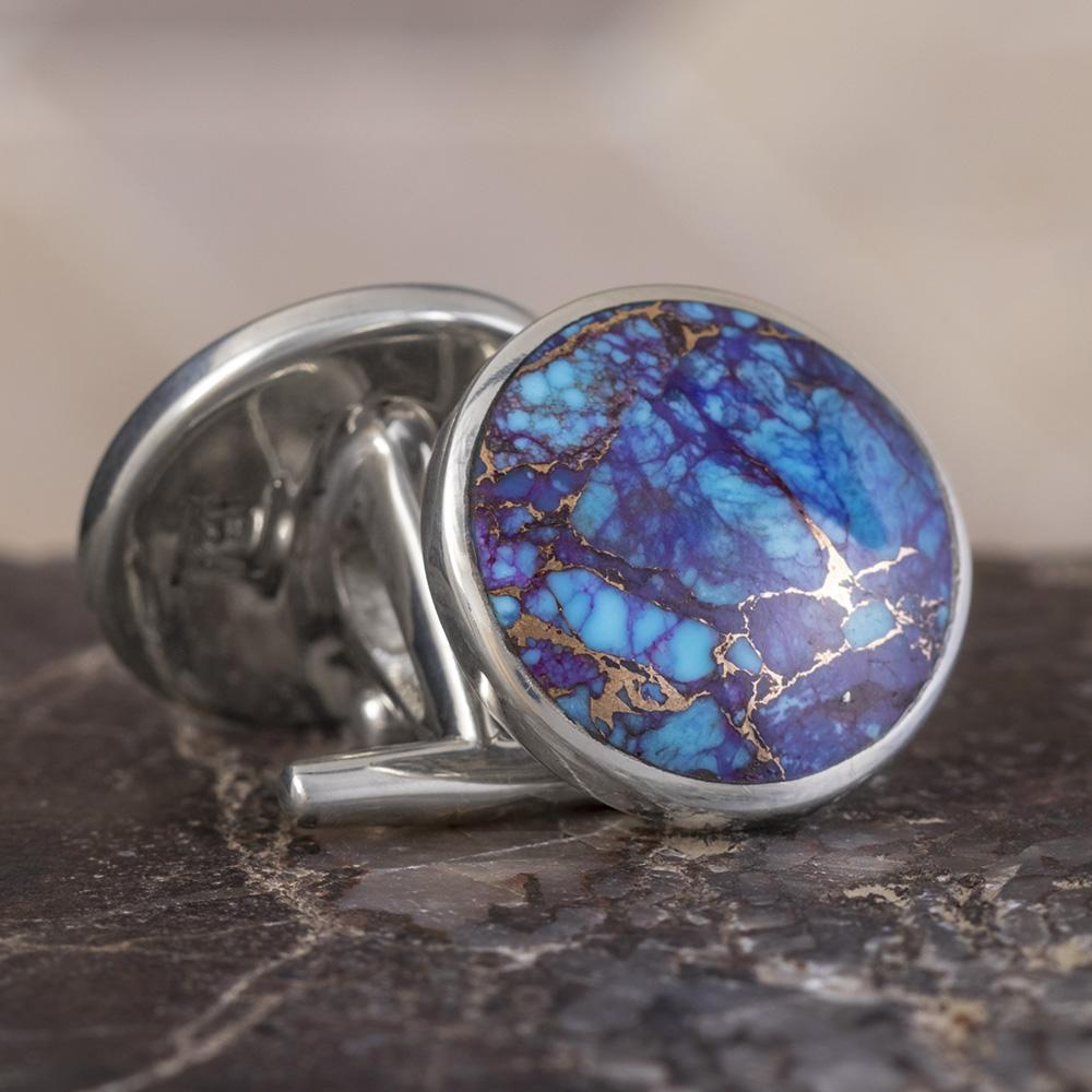 Lava Mosaic Turquoise Cuff Links In Polished Sterling Silver