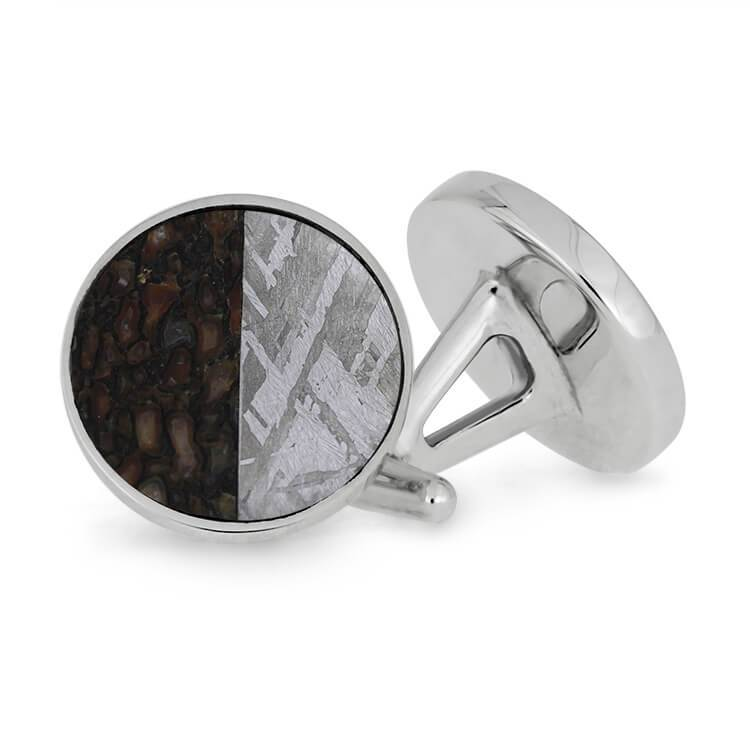 Cuff Links With Meteorite and Dinosaur Bone
