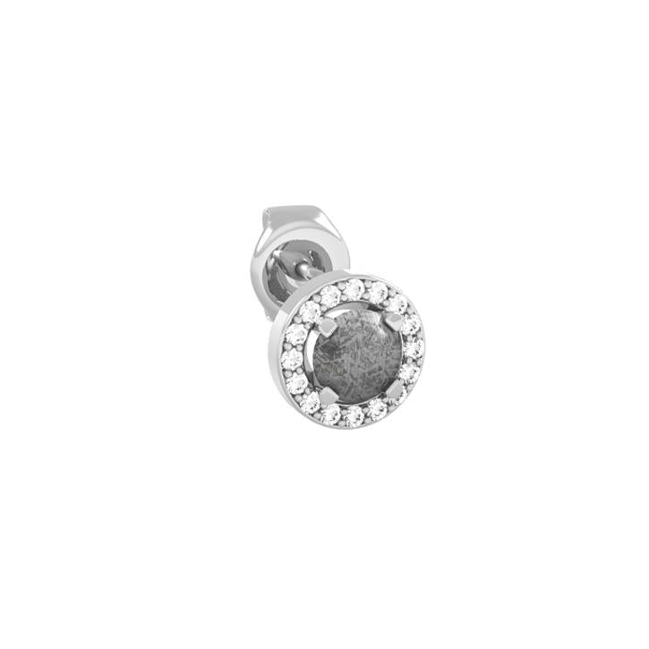 Meteorite Earrings With Stunning White Diamonds On 14k White Gold
