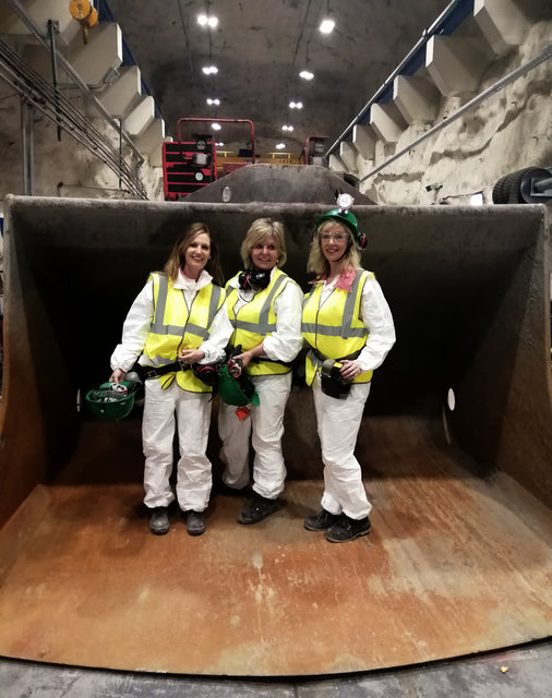Photo of Noeleen, Marguerite and Cindy, the three directors of Athena, on site in Tara Mines, NAvan, Co Meath