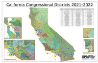 2021-2022 California Congressional Districts Wall Map