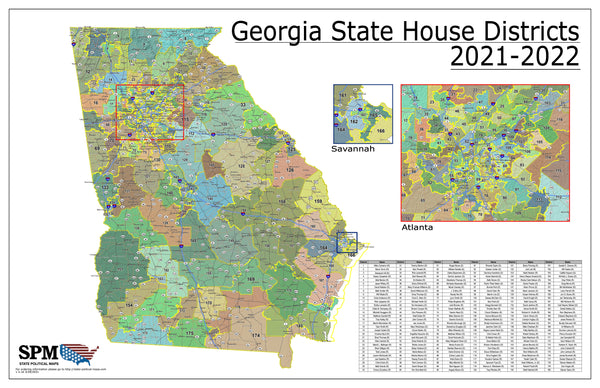 2021-2022 Georgia State House Wall Map
