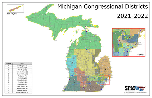 2021-2022 Michigan Congressional Wall Map