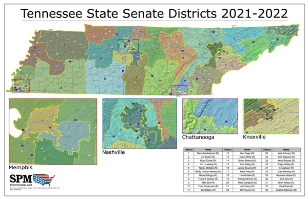 2021-2022 Tennessee State Senate Wall Map
