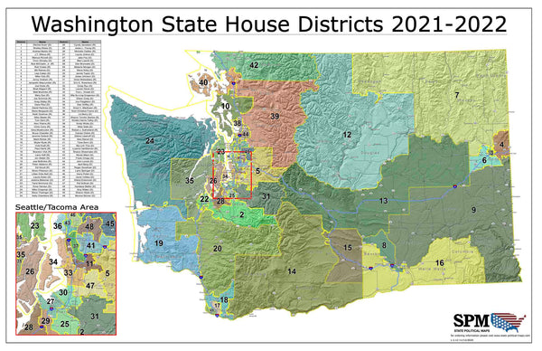 2021-2022 Washington State House Districts Wall Map