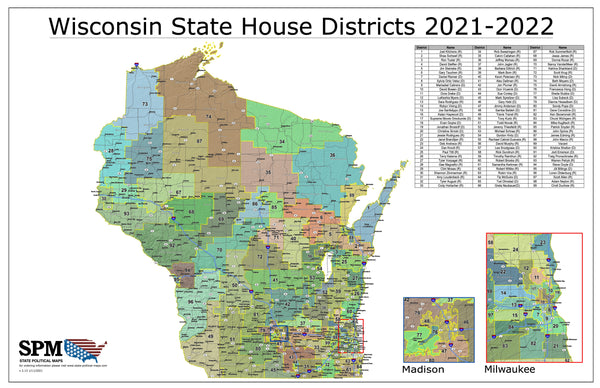2021-2022 Wisconsin State Assembly Districts Wall Map