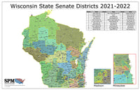 2021-2022 Wisconsin State Senate Districts Wall Map