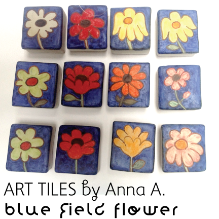 Art Tiles ~Blue Field Flower