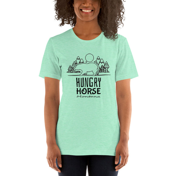 Montana Collection - Hungry Horse Bear and Wilderness Design - Short-Sleeve Unisex T-Shirt