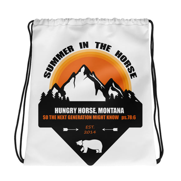 Montana Summer in the Horse High Quality Drawstring bag