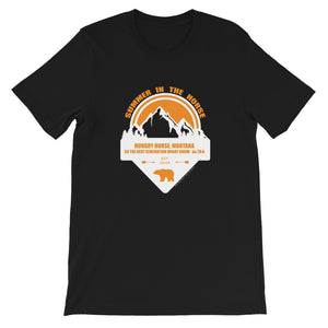 Montana Collection: Orange and White Print on Dark Colored Short-Sleeve Unisex T-Shirt