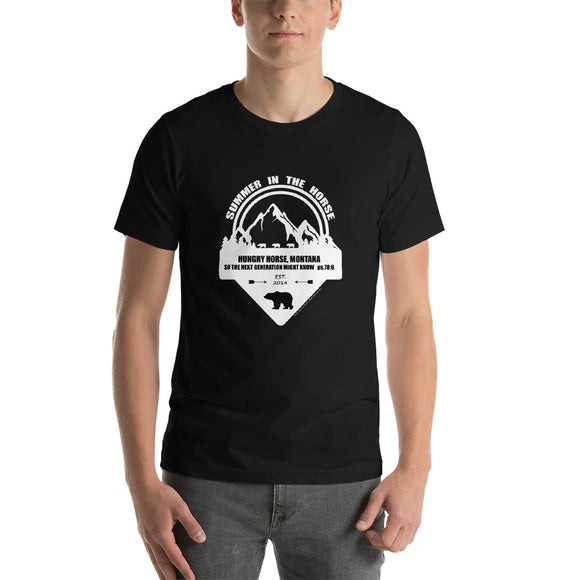 Montana Collection:  Black and White Print on Dark Colored Short-Sleeve Unisex T-Shirt