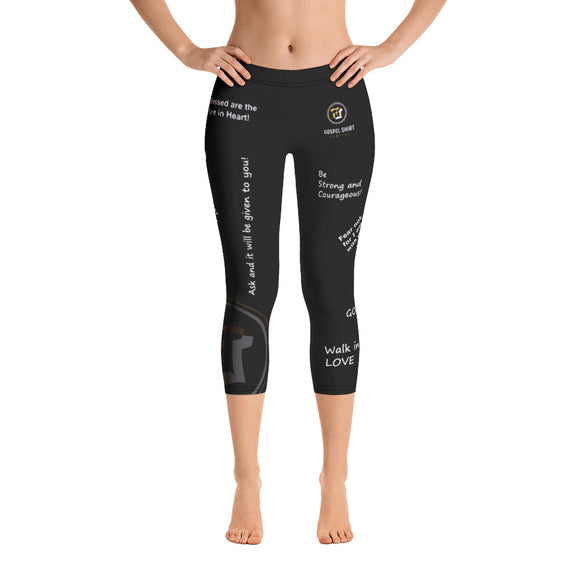 Bible Verse Collection: Multi Verse Black Capri Leggings