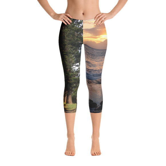 Maui Collection: Forrest & Sunset Capri Leggings