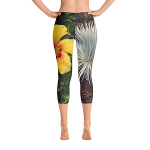Flower Collection: Hawaii White & Yellow Capri Leggings
