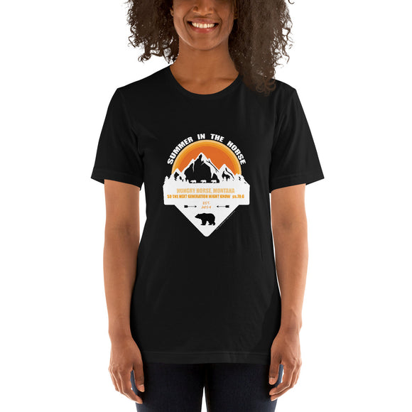 Montana Collection: White Orange and Black Design on Dark Colored Short-Sleeve Unisex T-Shirts