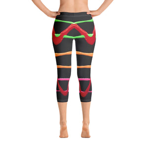Bright Stripes Capri Leggings