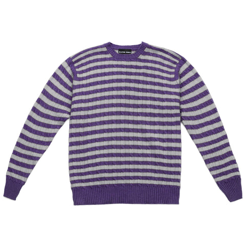STRIPE CABLE KNIT CREW NECK SWEATER