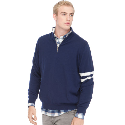 STRIPE SLEEVE QUARTER ZIP SWEATER