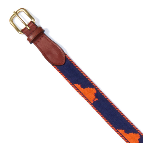NEEDLEPOINT AND LEATHER BELT
