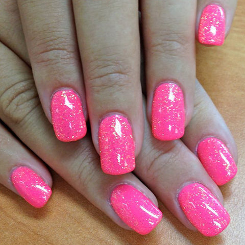 Neon Pink Paint With Orange Crush Glitter Gel Light Elegance