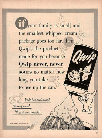 1954 Qwip Whipped Cream Original Food and Drink Print Ad - TnTCollectibles