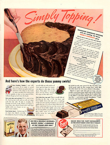 1940 Baker's Chocolate Original Print Ad - TnTCollectibles