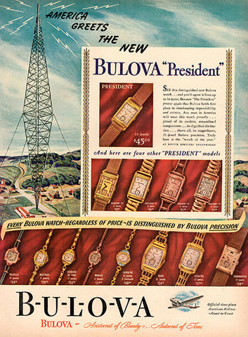 1940 Bulova President Watches Original Print Ad - TnTCollectibles