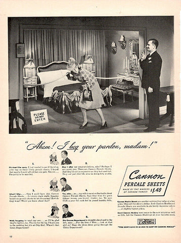1940 Cannon Percale Sheets Original Print Ad - TnTCollectibles