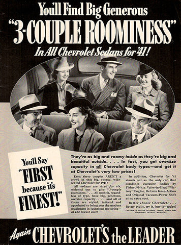 1940 Chevrolet 3 Couple Roominess Original Print Ad - TnTCollectibles