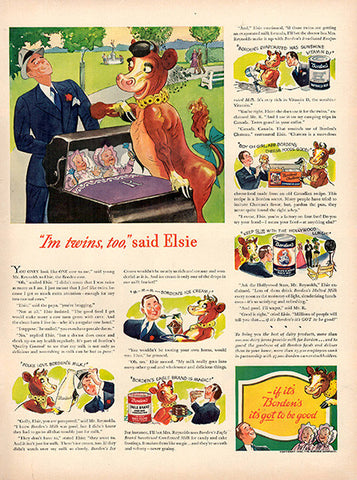 1940 Borden's Elsie the Cow Original Print Ad - TnTCollectibles