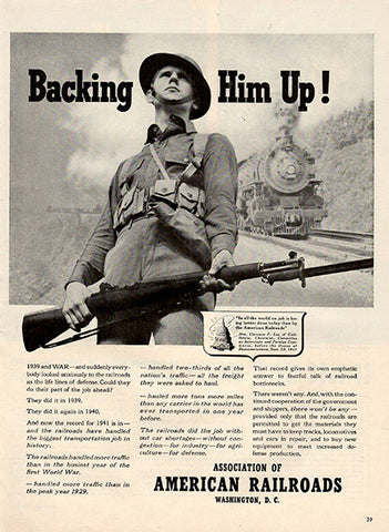 1941 Association of American Railroads Military Soldier Original Print Ad - TnTCollectibles