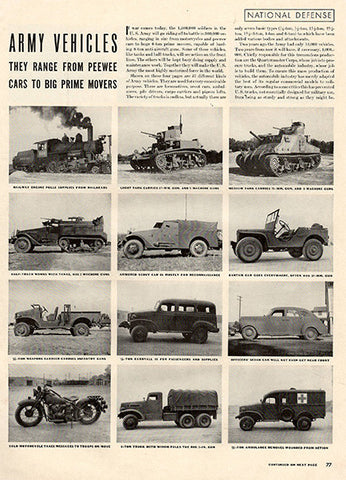 1941 Four Pages of 1941 US Army Vehicles Original Military Print Ad - TnTCollectibles - 1