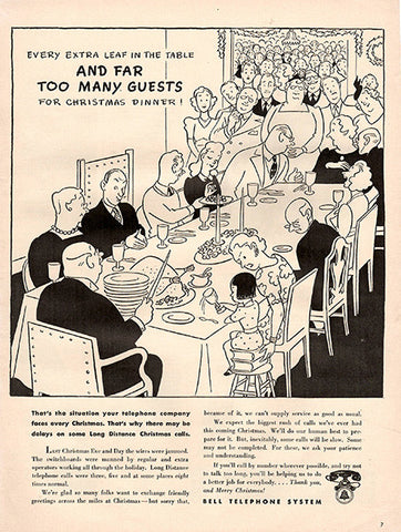 1941 Bell Telephone Systems Christmas Cartoon Original Print Ad - TnTCollectibles