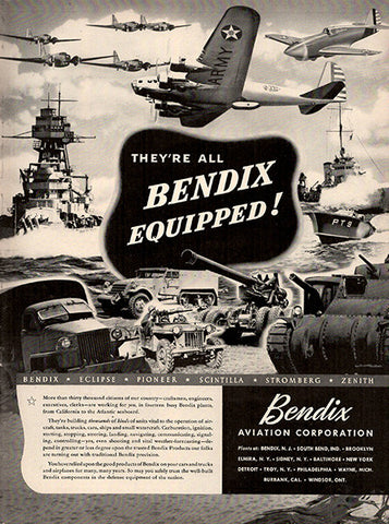 1941 Bendix Aviation Corporation World War 2 Airplane Original Military Print Ad - TnTCollectibles