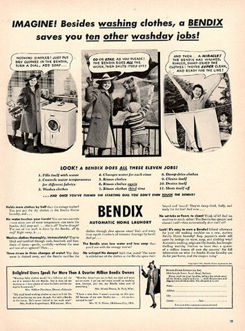 1941 Bendix Washing Machines Original Print Ad - TnTCollectibles