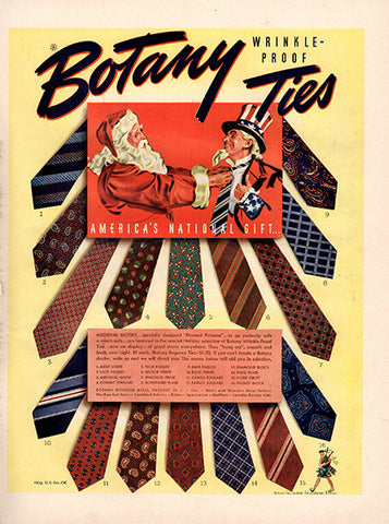 1941 Botany Ties Santa Claus and Uncle Sam Original Print Ad - TnTCollectibles