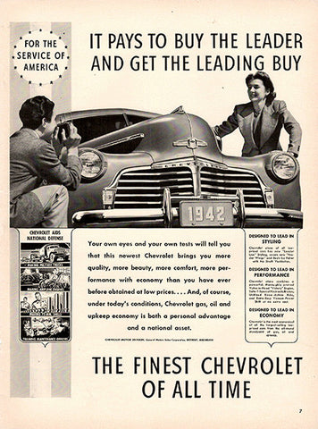 1941 Chevrolet 1942 Chevy Original Car and Truck Print Ad - TnTCollectibles