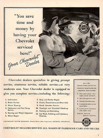 1941 Chevy Chevrolet Dealer Service Original Car Print Ad - TnTCollectibles