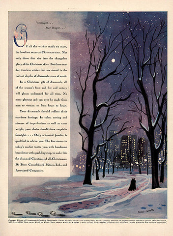 1941 City Park at Night Diamond Original Jewelry Print Ad - TnTCollectibles